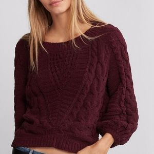 NWOT EXPRESS Dark Purple Chenille BoatNeck Sweater